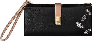 Elios Gemini Leaves Bifold Ladies Clutch RFID Blocking Phone | Credit Card Holder |Organizer |Purse |Wallet for Women(Black)
