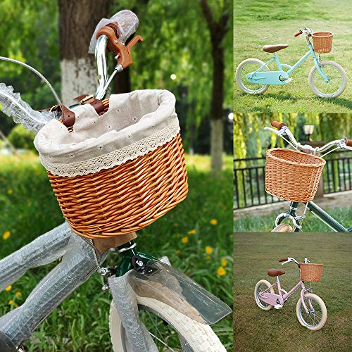 A0ZBZ Bike Basket, Woven Front Bar Handmade Bicycle Basket with Leather Belt & Lining, Natural Rattan Wicker Bike Storage Basket for Women, Bicycle Accessories -Sugar Color