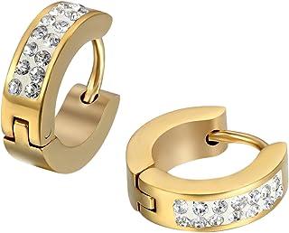 JewelryWe Heren Dames Rhinstone RVS Stud Huggie Hoop Oorbellen Set, Gouden, 2 stks (met Gift Bag)