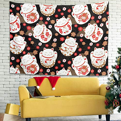 XunYun Tapiz de pared con diseño de gato de la suerte japonés, para colgar en la pared, con decoración de pared para sala de estar, dormitorio, blanco, 101,6 x 149,9 cm