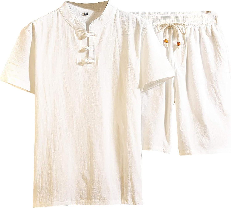 JSPOYOU Men's Linen Henley Shirt Short 35% OFF Hippie Super sale period limited Casual Sleeve Cott