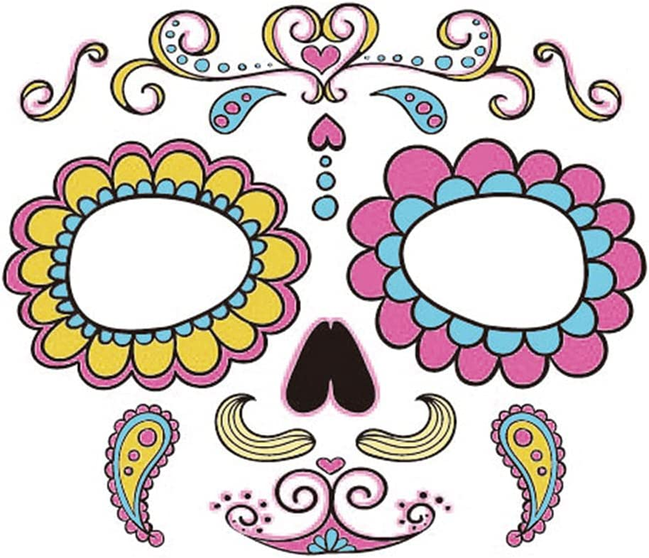 Shuihua Max 88% OFF Halloween NEW before selling Face Tattoos Floral Ma Skull Temporary