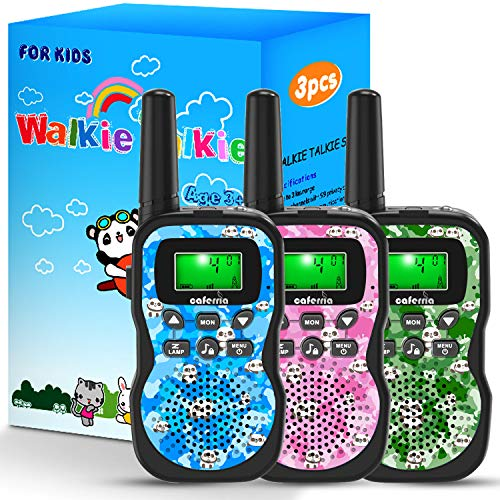 Caferria Kids Walkie Talkies, 22 Channel 2 Way Radio 3 Miles Range Walkie Talkies for Kid with Backlit LCD Flashlight Boys Girls Gift 3 Pack Children Toy Outdoor Adventure, Camping, Hiking (Panda)