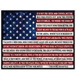 Teddy Roosevelt Man in the Arena Quote Poster Print -...