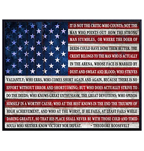 Teddy Roosevelt Man in the Arena Quote Poster Print - 8x10 Daring Greatly Wall Art Room Decor - Unique Inspirational Motivational Gift - Patriotic American Flag Plaque - Unframed