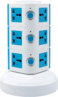 Universal Vertical Multi Socket 220V Tower Extension Outlet with USB Ports 3M Cord and UK-Plug Power Strip Multi Charging Station (3 Layers Multi Plug With USB Port, Blue)