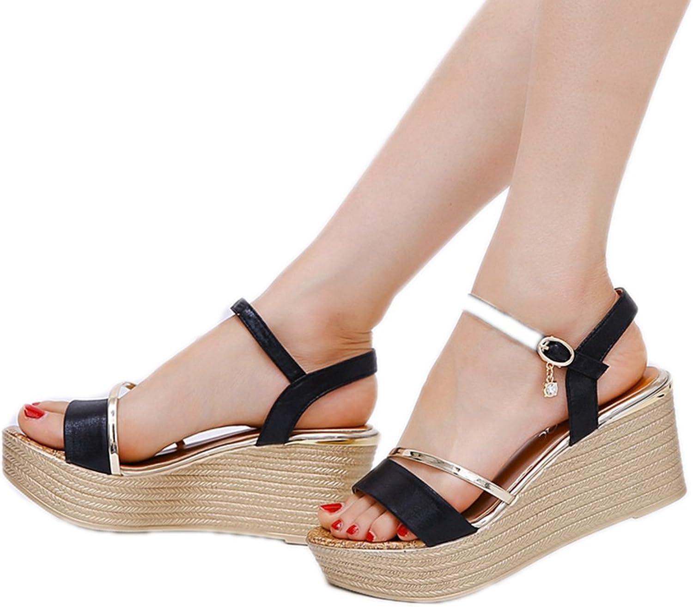 T -JULY kvinnor Ladies Ladies Ladies mode Wedge Platform Glitter klackar Open Toe Pumps Slippers  bra kvalitet