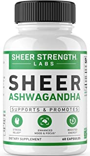High Potency 1000mg Organic Ashwagandha Root Powder Extract | Natural Anti-Stress & Mood & Thyroid Support Supplement | 60 Gluten-Free & Non-GMO Veggie Capsules - Sheer Strength Labs