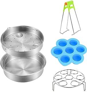 Steamer Basket Rack Sets for Instant Pot - Vegetable Steamer Pan Tray Trivet with Silicone Egg Bites Molds Combo - Fits for Pot 6,8 Qt Instant Pressure Cooker DUO60