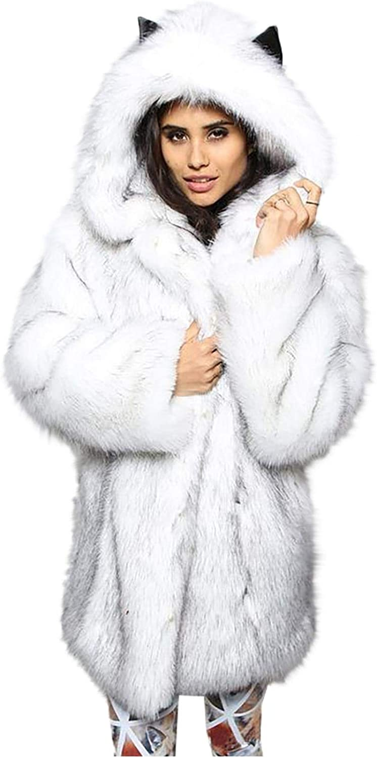 Womens Winter Warm Faux Fur Hooded Long Max 80% OFF Coat Mid-Length J Sleeve Challenge the lowest price