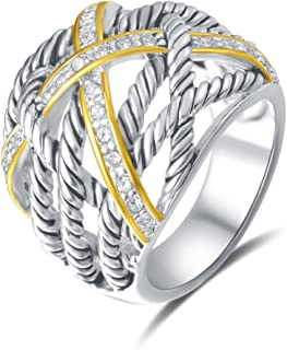 Ring Twisted Cable Wire Weave Designer Fashion Brand David Womens Vintage Valentine Love Gifts Rings