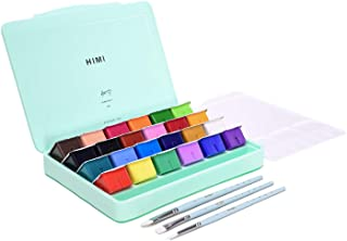 HIMI Gouache Paint, Set of 24 Colors×30ml with Paint Brushes, Unique Jelly Cup Design, Non Toxic for Artist, Student & Kid...