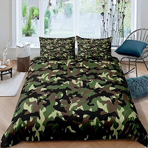 Erbaeo 100% Pure Cotton 4 Piece Complete Double Duvet Bed Set In - Modern Camouflage Army Green - Includes X1 Duvet Cover X2 Pillowcases And X1 Fitted Sheet Single (140 X 200 Cm)