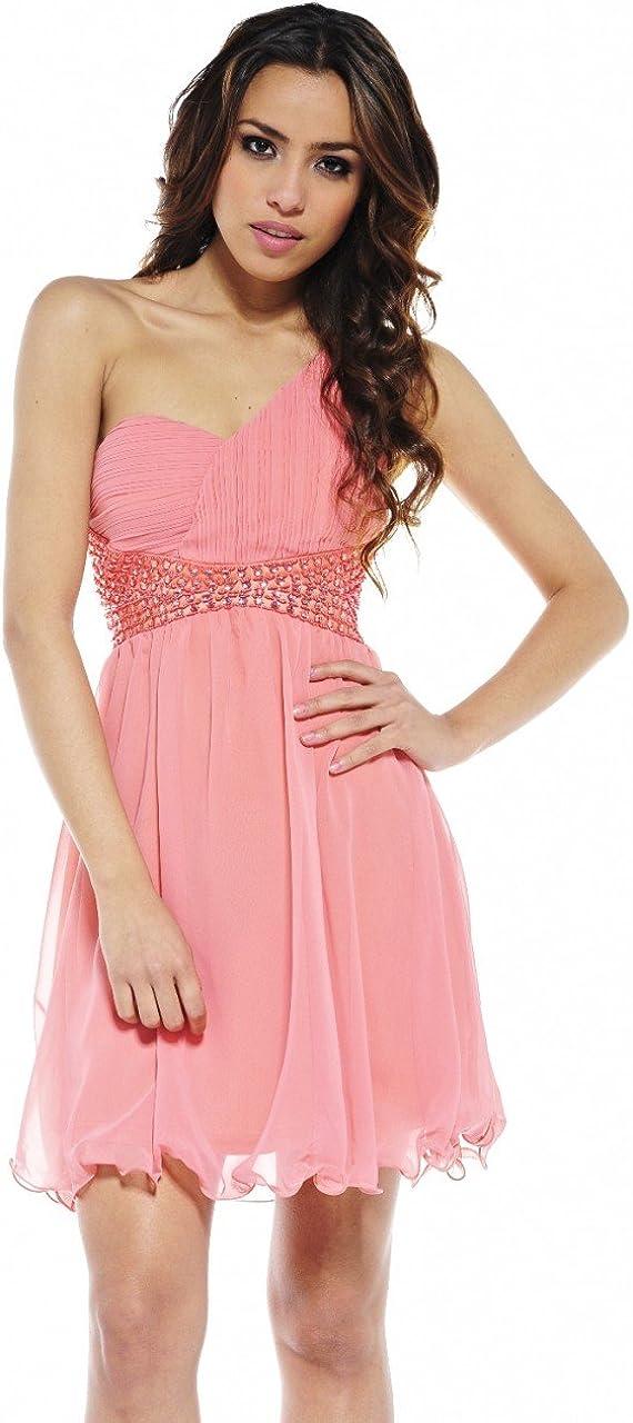 AX Paris Women's One Shoulder Embellished Waist Dress