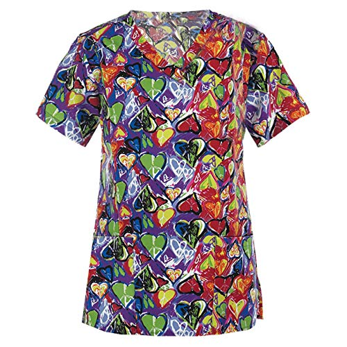 Classic Women Short Sleeve V-Neck Working Uniform Tops with 2 Pocket Fashion Heart Print Tunic Working Blause Black Holiday Scrubs Tshirts for Women Nurses Summer Gifts