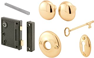 "Prime-Line E 2437 Vertical Trim Vintage Lock Set – Cast Steel Construction, Brass Plated Knobs, Antique Skeleton Key Locking System – 2-1/2"" Backset, Surface Mounted on Right-Hand Swing-In Interior Doors"