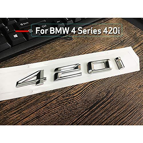ontto - Emblema de plástico ABS plateado para el coche, número de letras, letras para el maletero, emblema trasero, emblema para 4 series 420i, 428i, 430i, 435i, 440i, accesorios decorativos