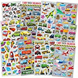 HORIECHALY Transportation Stickers for Kids 12 Sheets with Cars, Airplane, Train, Motorbike, Ambulance, Police Car, Fire Trucks, School Bus, Spaceship, Rocket and More!