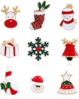Set 9 Pcs Christmas Themed Brooch Pins Enamel Jewelry Breastpin Santa Claus Snowman Jingle Bell Christmas Tree Stockings Candy Cane Snow Reindeer Gift Ornaments Lapel Pin for Christmas Decoration