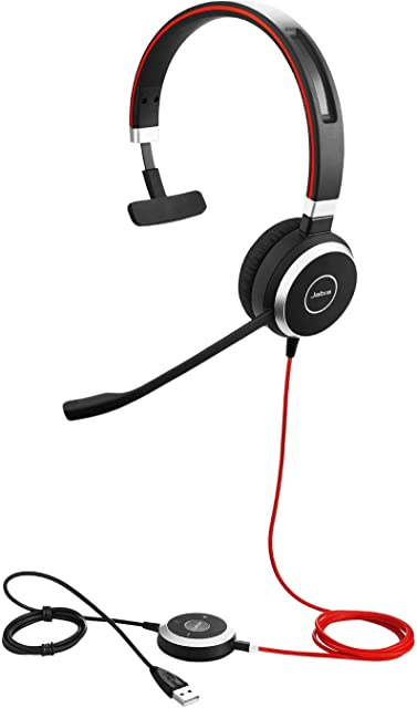 Evolve 40 UC Mono Headset – Unified Communications Headphones for VoIP Softphone with Passive Noise Cancellation – USB-Cable with Controller – Black
