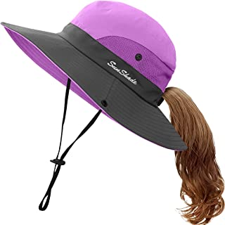 Kids UV Sun Hat with Ponytail Hole UPF 50 Bucket Cap for...