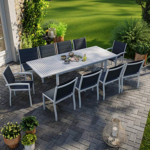 IMS Garden Table de Jardin Extensible Aluminium 172/241cm + 10 chaises empilables Gris - Levana