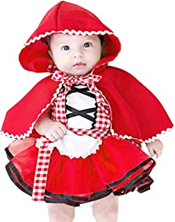 Wang Xiang Toddler Baby Girls Little Red Riding Hood Costume Halloween Cosplay Outfit Party Dress with Cape