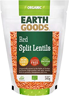 Earth Goods Organic Red split lentils, NON-GMO, Gluten-Free, High Protein 340g