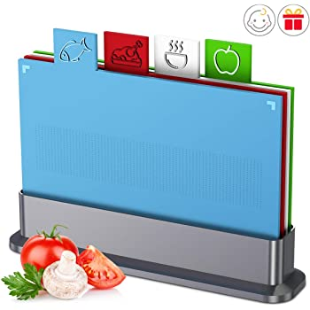 """Chopping Board Set for Kitchen,Set of 4 Small Cutting Boards with Index Color Coded Food Icon, Non-slip BPA Free Approved Reversible Chef Dishwasher Safe Thicker Easy-access Draining Rack, 11.5"""" x7.8"""""""
