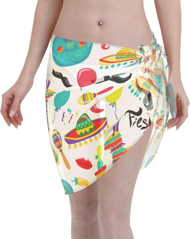 Cinco De Mayo Women Short Sarongs,Beach Wrap Sheer Bikini Wraps Chiffon Cover Ups for Swimwear
