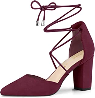 Allegra K Women's Pointed Toe Chunky Heels Lace Up Pumps