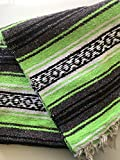Mexitems Mexican Falsa Blanket Authentic 52' X 72' Pick Your Own Color (Neon Green/Grey/Black)