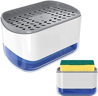 Nordun Distributeur de Savon Liquide avec Porte-éponge 2 en 1,Distributeur Liquide Vaisselle,Distributeur de Pompe à Main ...
