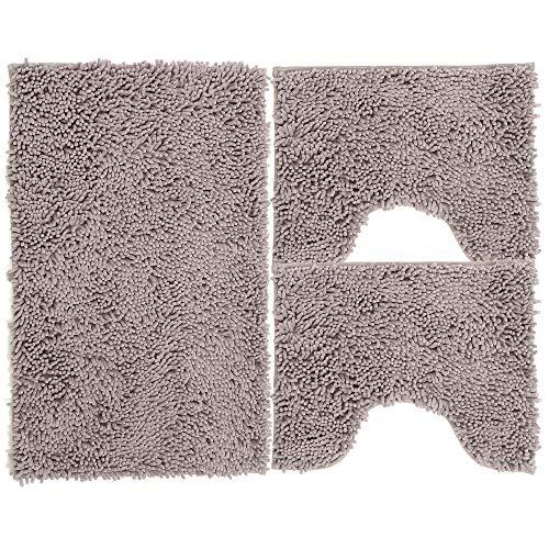 Juego de alfombrillas de baño de 3 piezas de microfibra, alfombra de pelo largo 50 x 80 cm, 2 alfombrillas para inodoro y agua, forma rectangular 40 x 50 cm, suave, antideslizante, gris