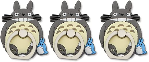 Finex Set of 3 My Neighbor Totoro 2-in-1 Mobile Cell Smart Phone Kickstand Finger Ring and Holder Stand Grip Cute 360 Degree Rotating Ring for iPhone Galaxy Smartphone Case - Random