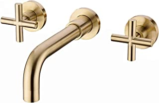 Havin HV303BG Bathroom Sink Faucet Wall Mount,Brushed Gold Color,2 Handles with Rough-in Valve (Style C-Brushed Gold Color)