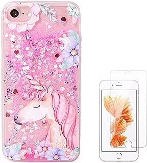 Liquid case for iPhone 6/6 plus/iPhone 7/7 plus Print Flowing Liquid Floating Luxury Bling Glitter Sparkle Stars Transparent Plastic Case (Pink Unicorn, iPhone 6/6s (4.7 inch))