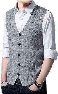 qianqianq Mens Fall Winter Cardigan Knitwear Knitting Single Breasted Vest