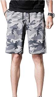 Men's Shorts Casual Plaid Short Pants Drawstring Pockets Beach Shorts with Elastic Waists