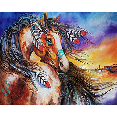 LULCLY Verf Door Getallen Volwassenen Kids Diy Olieverfschilderij Paard Gift Kits Pre-Printed Canvas Art Home Decoratie 40X50Cm