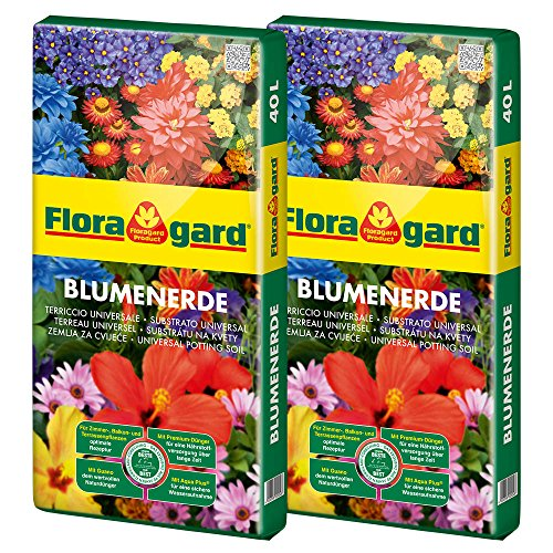Floragard Blumenerde 2x40 L • Universalerde • für  Balkon-, Kübel- und Zimmerpflanzen • mit dem Naturdünger Guano • 80 L