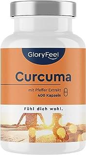 Gurkmeja Curcumin med Svartpeppar (Piperin) - 400 Veganska Kapslar - Maximal Styrka på 700 mg per Kapsel - Gurkmejapulver ...