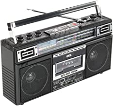 QFX J-220BT ReRun X Cassette Player Boombox with 4-Band Radio, MP3 Converter, and Bluetooth