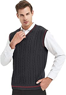 TOPTIE Men's V-Neck Cotton Twist Knit Sweater Vest Green and Red Trim