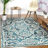 Antep Rugs Kashan King Collection Floral Polypropylene Indoor Area Rug (Blue/Cream, 5' x 7')