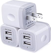 Wall Charger, 3Pack 5V/2.1A AILKIN 2-Port USB Wall Charger Home Travel Plug Power AC Adapter Fast Charging Block Cube for iPhone 13 12 SE 11Pro Max XS XR 8 7 Plus, Samsung Galaxy, Google Pixel, LG Box