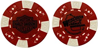 HARLEY-DAVIDSON Wisconsin Poker Chip Red & White CHIP