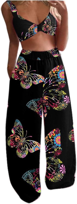 Women's Sleeveless Crop Tops Manufacturer regenerated product + Long Set 2Pcs High material Summer Pants B Boho