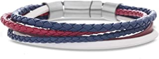 Men's Red, White, and Blue Multi Strand Braided Leather Bracelet Set in Stainless Steel, Blue, 8