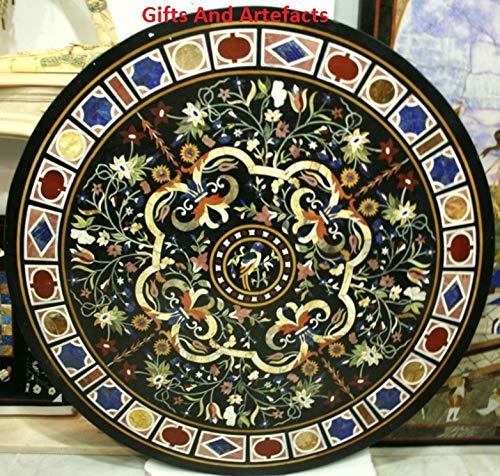 Mesa de comedor de marmol de 48 pulgadas con incrustaciones de marmol en el trabajo al azar y arte geometrico, mesa de comedor de marmol unico, mesa de oficina y reunion